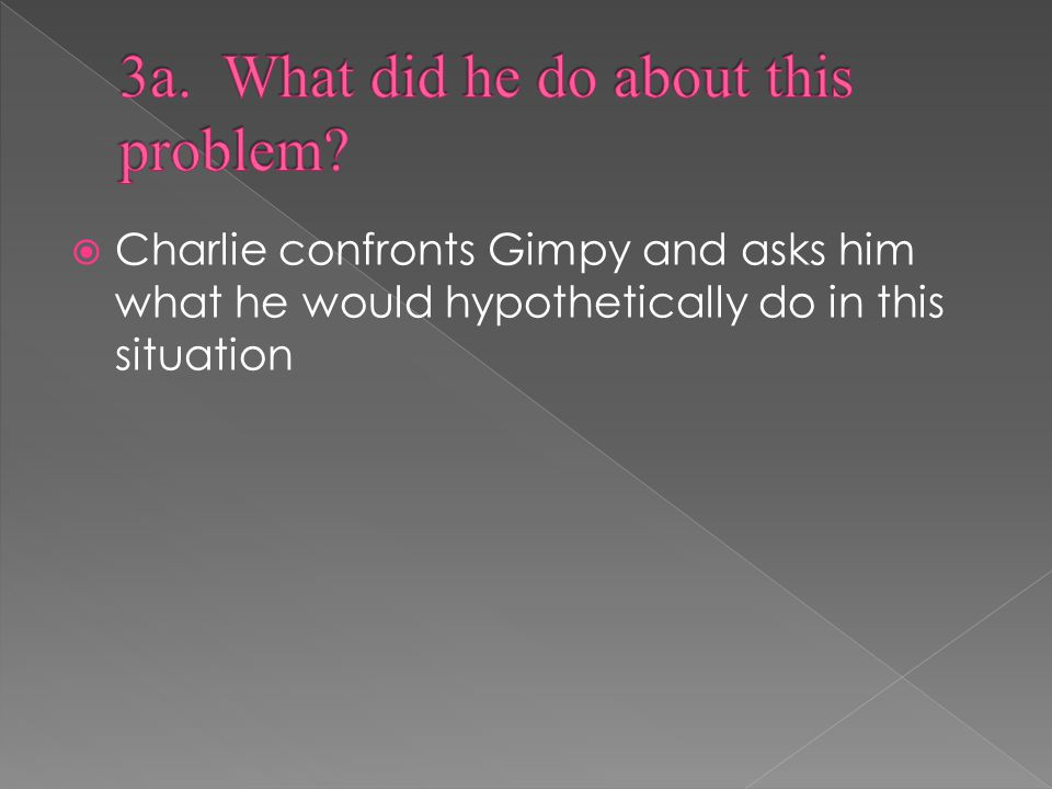  Charlie confronts Gimpy and asks him what he would hypothetically do in this situation