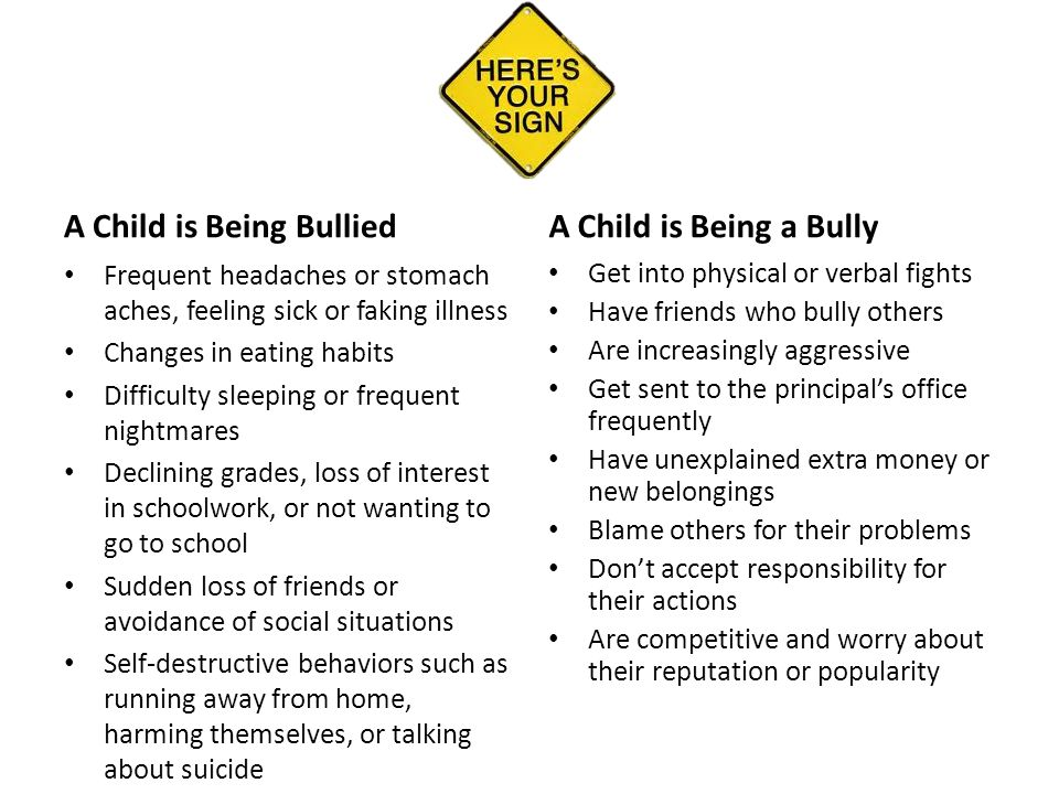 A Child is Being Bullied Frequent headaches or stomach aches, feeling sick or faking illness Changes in eating habits Difficulty sleeping or frequent nightmares Declining grades, loss of interest in schoolwork, or not wanting to go to school Sudden loss of friends or avoidance of social situations Self-destructive behaviors such as running away from home, harming themselves, or talking about suicide A Child is Being a Bully Get into physical or verbal fights Have friends who bully others Are increasingly aggressive Get sent to the principal's office frequently Have unexplained extra money or new belongings Blame others for their problems Don't accept responsibility for their actions Are competitive and worry about their reputation or popularity