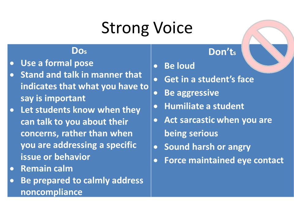 Strong Voice Do s  Use a formal pose  Stand and talk in manner that indicates that what you have to say is important  Let students know when they can talk to you about their concerns, rather than when you are addressing a specific issue or behavior  Remain calm  Be prepared to calmly address noncompliance Don't s  Be loud  Get in a student's face  Be aggressive  Humiliate a student  Act sarcastic when you are being serious  Sound harsh or angry  Force maintained eye contact