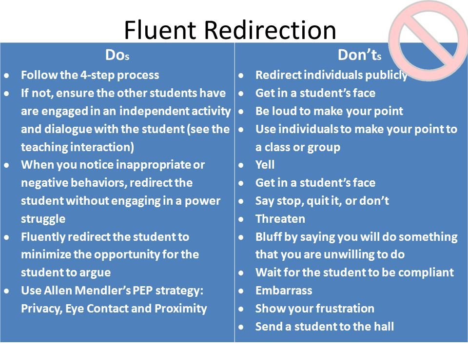 Fluent Redirection Do s  Follow the 4-step process  If not, ensure the other students have are engaged in an independent activity and dialogue with the student (see the teaching interaction)  When you notice inappropriate or negative behaviors, redirect the student without engaging in a power struggle  Fluently redirect the student to minimize the opportunity for the student to argue  Use Allen Mendler's PEP strategy: Privacy, Eye Contact and Proximity Don't s  Redirect individuals publicly  Get in a student's face  Be loud to make your point  Use individuals to make your point to a class or group  Yell  Get in a student's face  Say stop, quit it, or don't  Threaten  Bluff by saying you will do something that you are unwilling to do  Wait for the student to be compliant  Embarrass  Show your frustration  Send a student to the hall