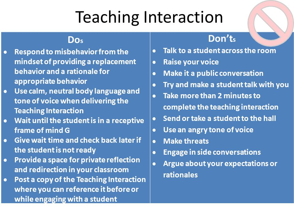 Teaching Interaction Do s  Respond to misbehavior from the mindset of providing a replacement behavior and a rationale for appropriate behavior  Use calm, neutral body language and tone of voice when delivering the Teaching Interaction  Wait until the student is in a receptive frame of mind G  Give wait time and check back later if the student is not ready  Provide a space for private reflection and redirection in your classroom  Post a copy of the Teaching Interaction where you can reference it before or while engaging with a student Don't s  Talk to a student across the room  Raise your voice  Make it a public conversation  Try and make a student talk with you  Take more than 2 minutes to complete the teaching interaction  Send or take a student to the hall  Use an angry tone of voice  Make threats  Engage in side conversations  Argue about your expectations or rationales