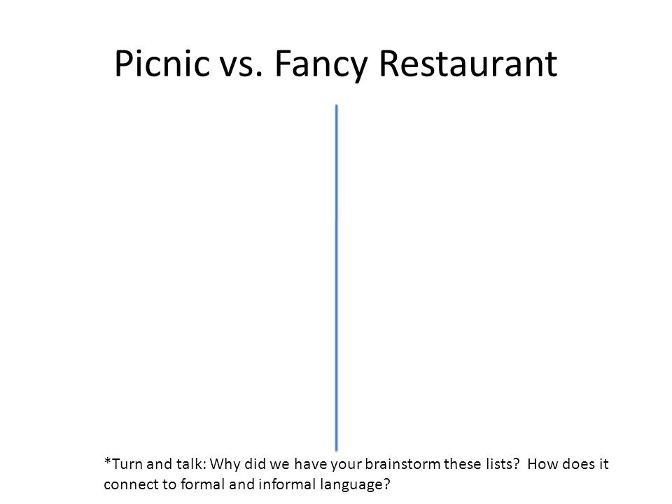 Picnic vs.Fancy Restaurant *Turn and talk: Why did we have your brainstorm these lists.