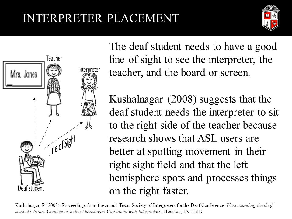 INTERPRETER PLACEMENT The deaf student needs to have a good line of sight to see the interpreter, the teacher, and the board or screen. Kushalnagar (2