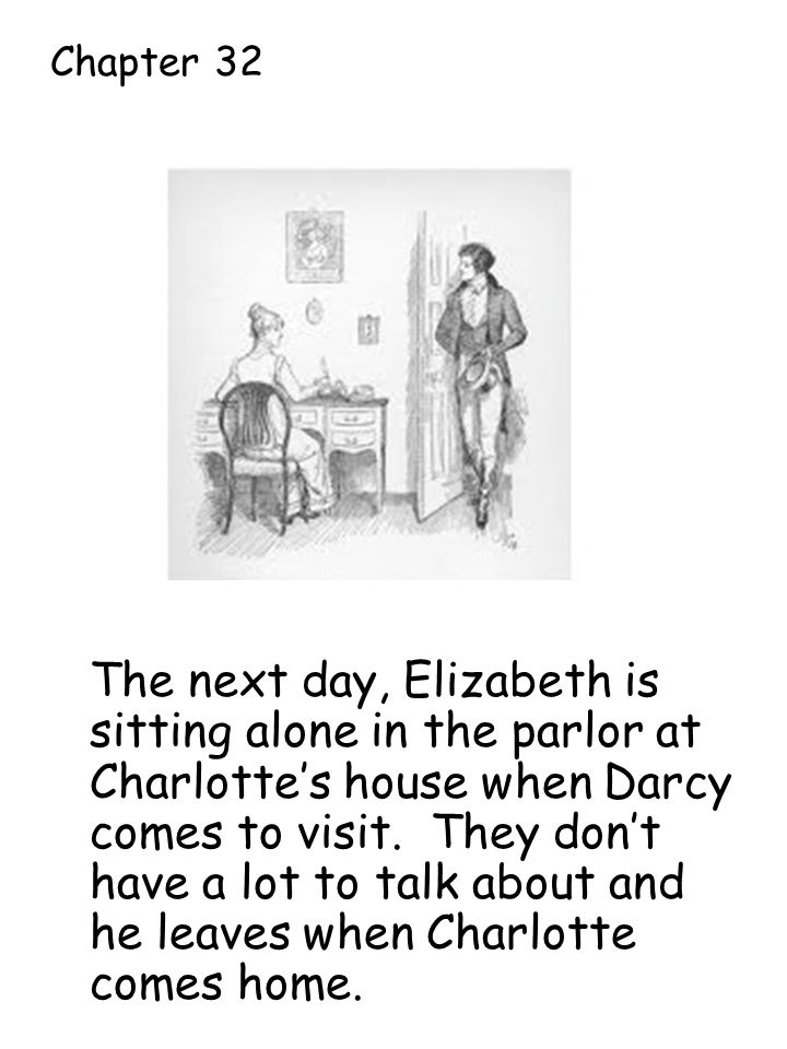 The next day, Elizabeth is sitting alone in the parlor at Charlotte's house when Darcy comes to visit.