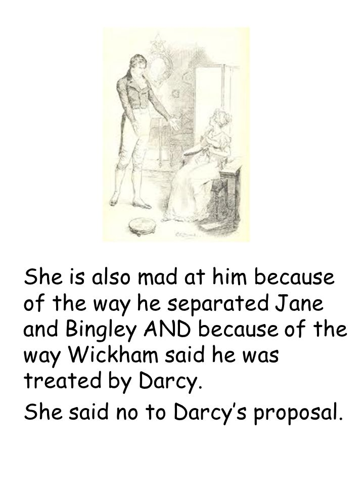 She is also mad at him because of the way he separated Jane and Bingley AND because of the way Wickham said he was treated by Darcy.