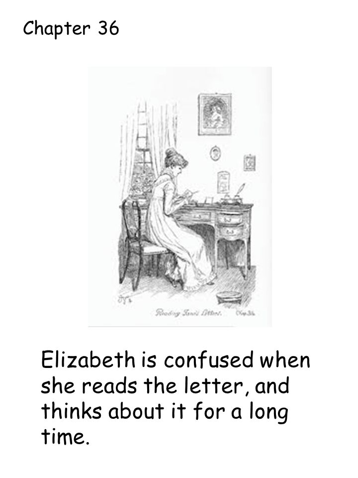 Elizabeth is confused when she reads the letter, and thinks about it for a long time. Chapter 36