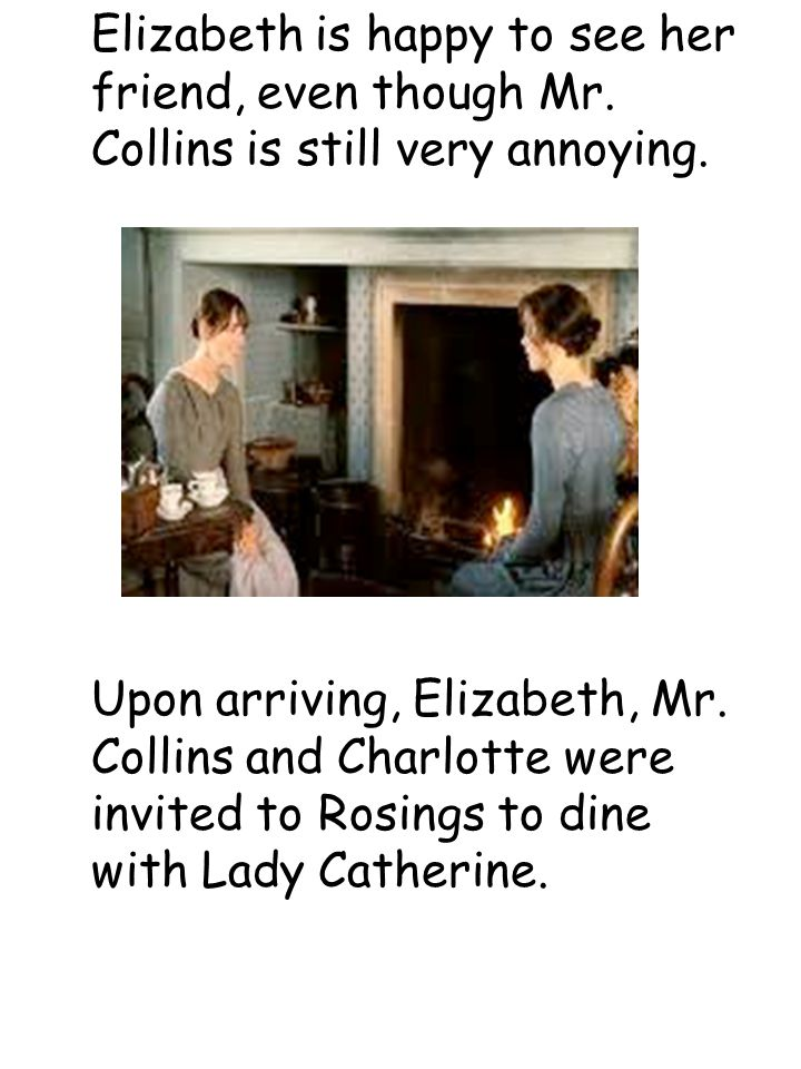 Elizabeth leaves the Collins' and returns home.