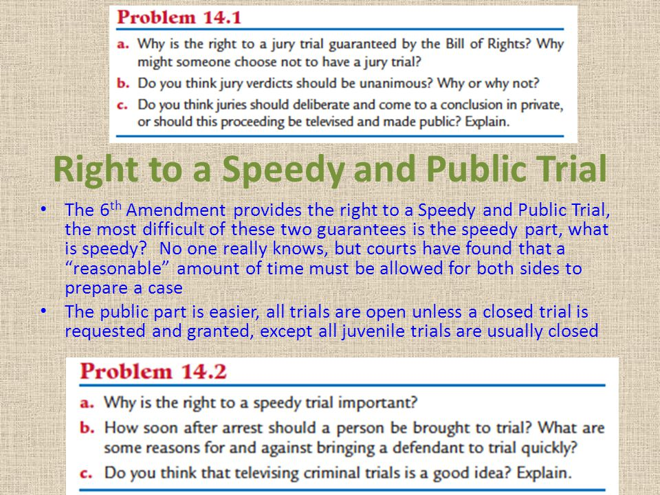 Right to a Speedy and Public Trial The 6 th Amendment provides the right to a Speedy and Public Trial, the most difficult of these two guarantees is t
