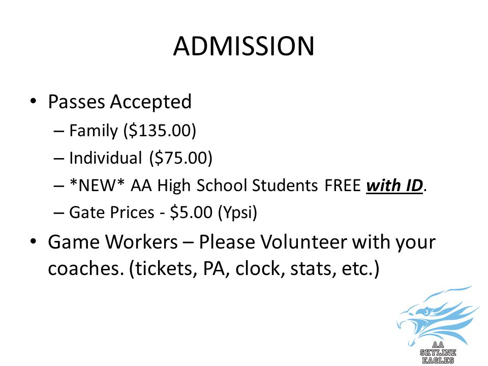 ADMISSION Passes Accepted – Family ($135.00) – Individual ($75.00) – *NEW* AA High School Students FREE with ID.