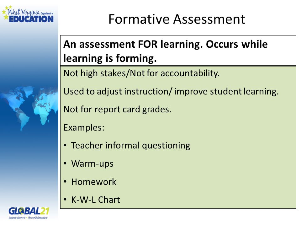 Not high stakes/Not for accountability. Used to adjust instruction/ improve student learning.