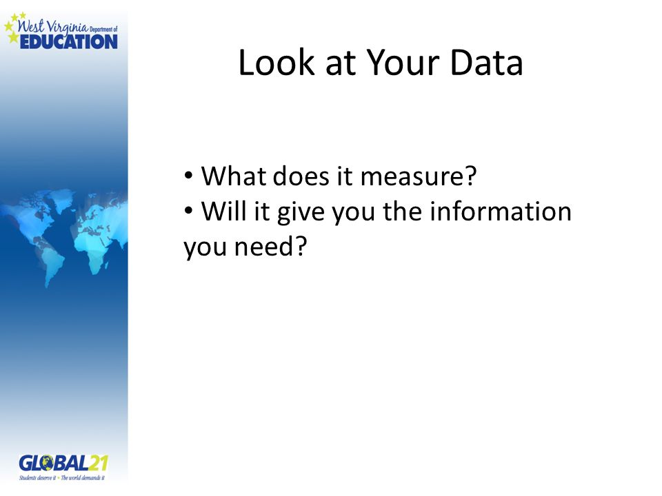 Look at Your Data What does it measure? Will it give you the information you need?