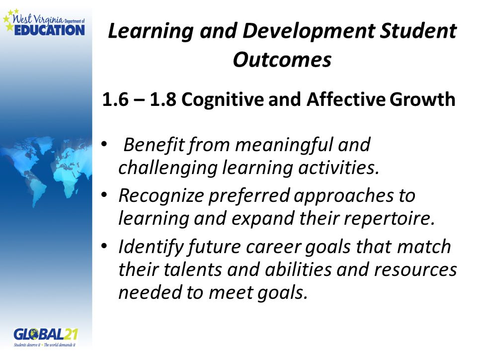 Learning and Development Student Outcomes Benefit from meaningful and challenging learning activities.