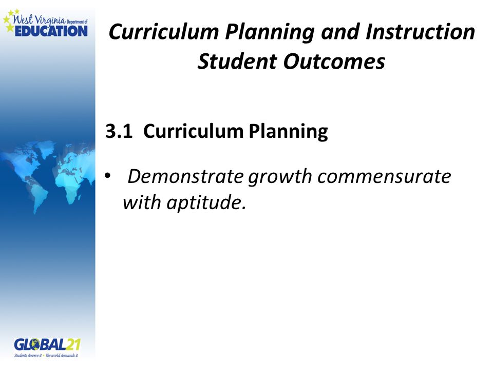 Curriculum Planning and Instruction Student Outcomes Demonstrate growth commensurate with aptitude.
