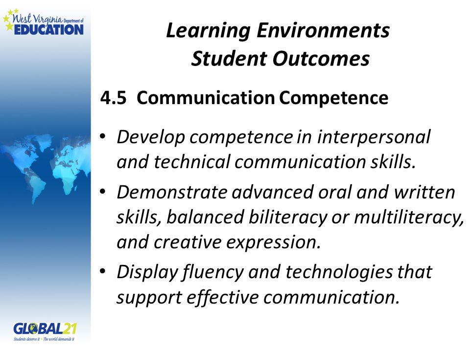Learning Environments Student Outcomes Develop competence in interpersonal and technical communication skills.