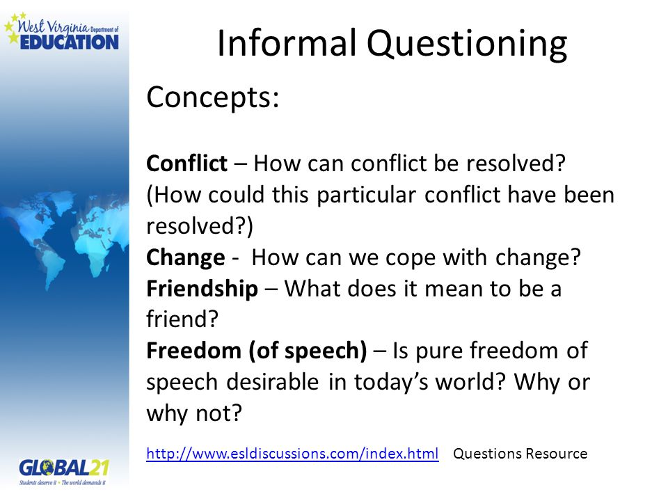 Informal Questioning Concepts: Conflict – How can conflict be resolved.