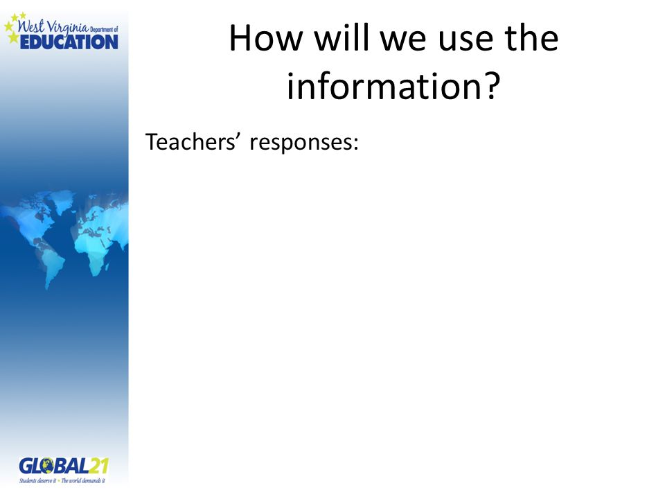 How will we use the information? Teachers' responses: