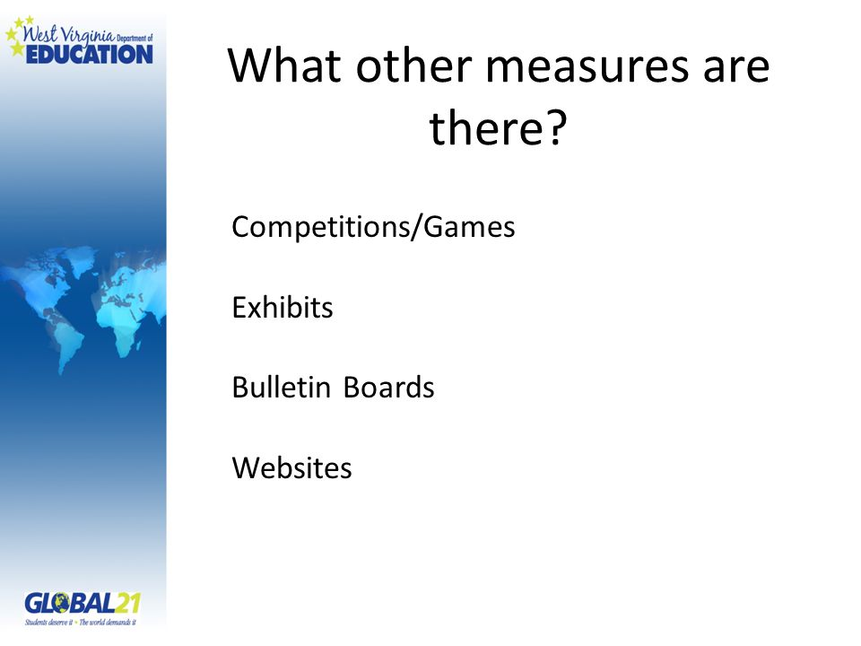 What other measures are there? Competitions/Games Exhibits Bulletin Boards Websites