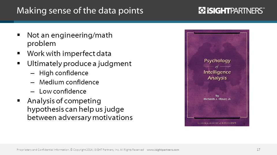 Making sense of the data points  Not an engineering/math problem  Work with imperfect data  Ultimately produce a judgment – High confidence – Medium confidence – Low confidence  Analysis of competing hypothesis can help us judge between adversary motivations Proprietary and Confidential Information.