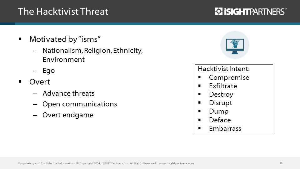 The Hacktivist Threat  Motivated by isms – Nationalism, Religion, Ethnicity, Environment – Ego  Overt – Advance threats – Open communications – Overt endgame Proprietary and Confidential Information.