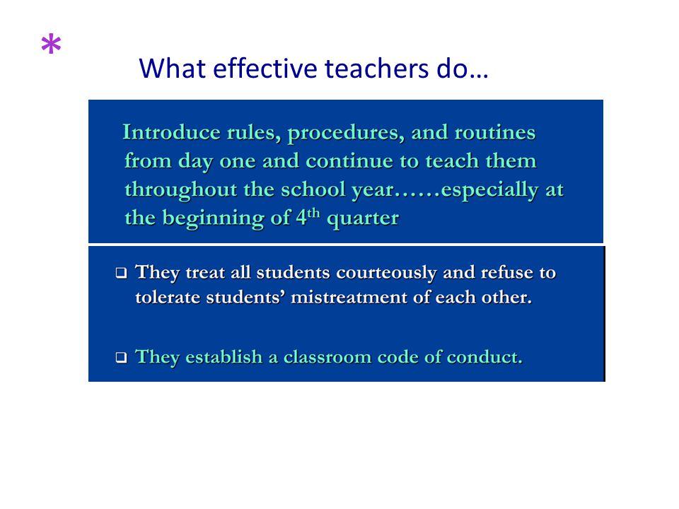 What effective teachers do… *
