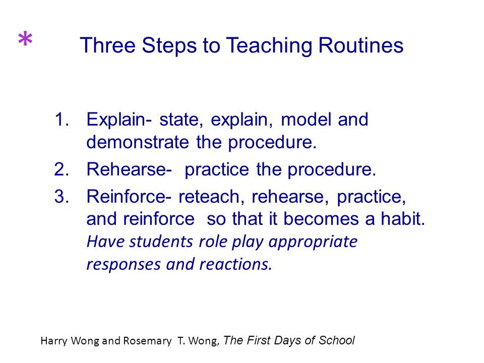 Three Steps to Teaching Routines 1. Explain- state, explain, model and demonstrate the procedure.