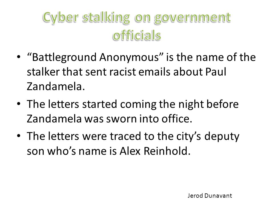 Battleground Anonymous is the name of the stalker that sent racist emails about Paul Zandamela.