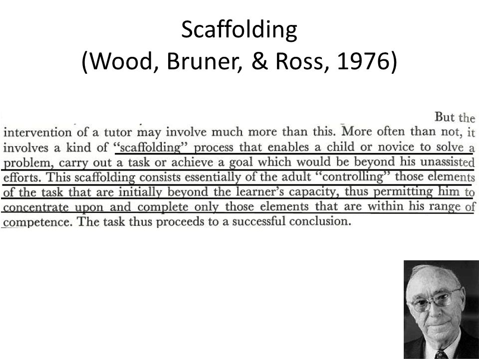 Scaffolding (Wood, Bruner, & Ross, 1976)