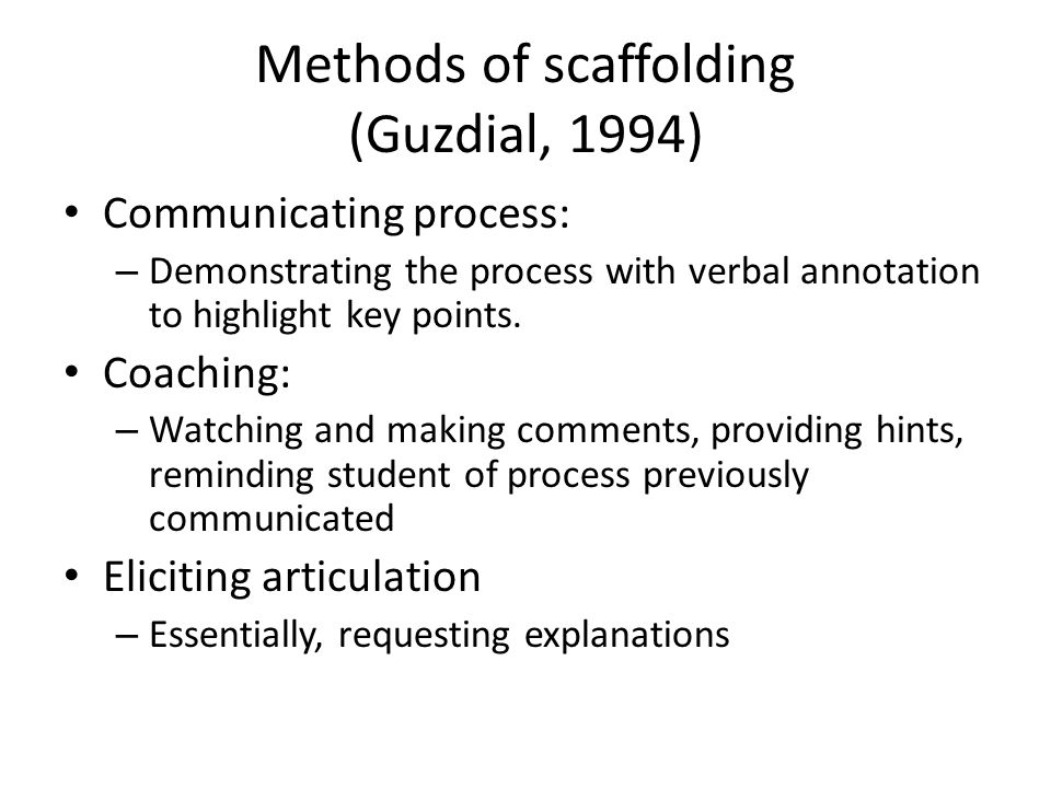 Methods of scaffolding (Guzdial, 1994) Communicating process: – Demonstrating the process with verbal annotation to highlight key points.