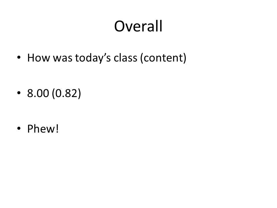Overall How was today's class (content) 8.00 (0.82) Phew!