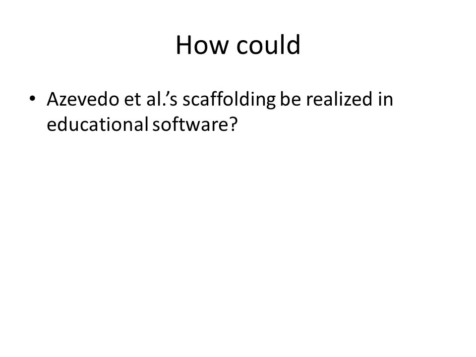 How could Azevedo et al.'s scaffolding be realized in educational software?