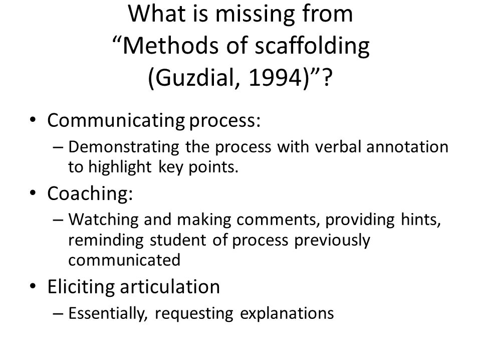 What is missing from Methods of scaffolding (Guzdial, 1994) .