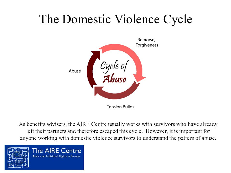 The Domestic Violence Cycle As benefits advisers, the AIRE Centre usually works with survivors who have already left their partners and therefore esca