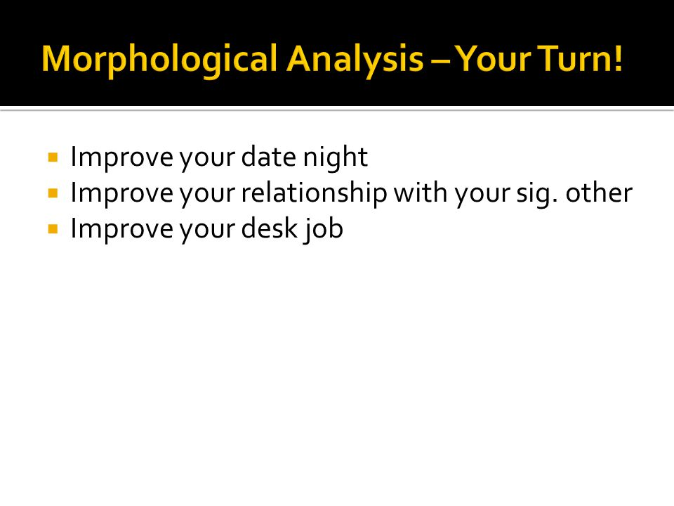  Improve your date night  Improve your relationship with your sig. other  Improve your desk job