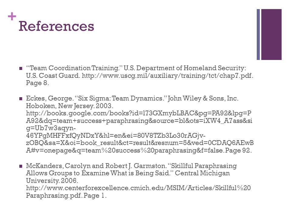 + References Team Coordination Training. U.S. Department of Homeland Security: U.S.