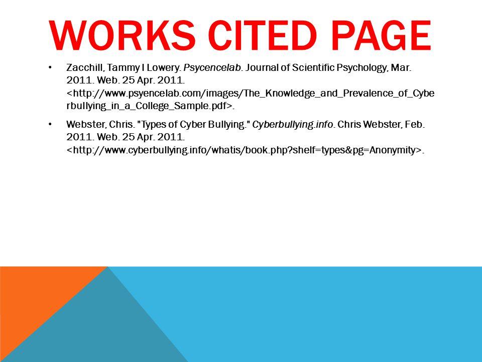WORKS CITED PAGE Zacchill, Tammy I Lowery. Psycencelab.