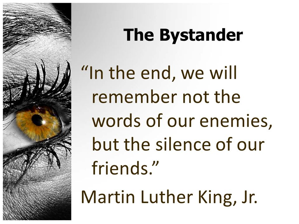 The Bystander In the end, we will remember not the words of our enemies, but the silence of our friends. Martin Luther King, Jr.