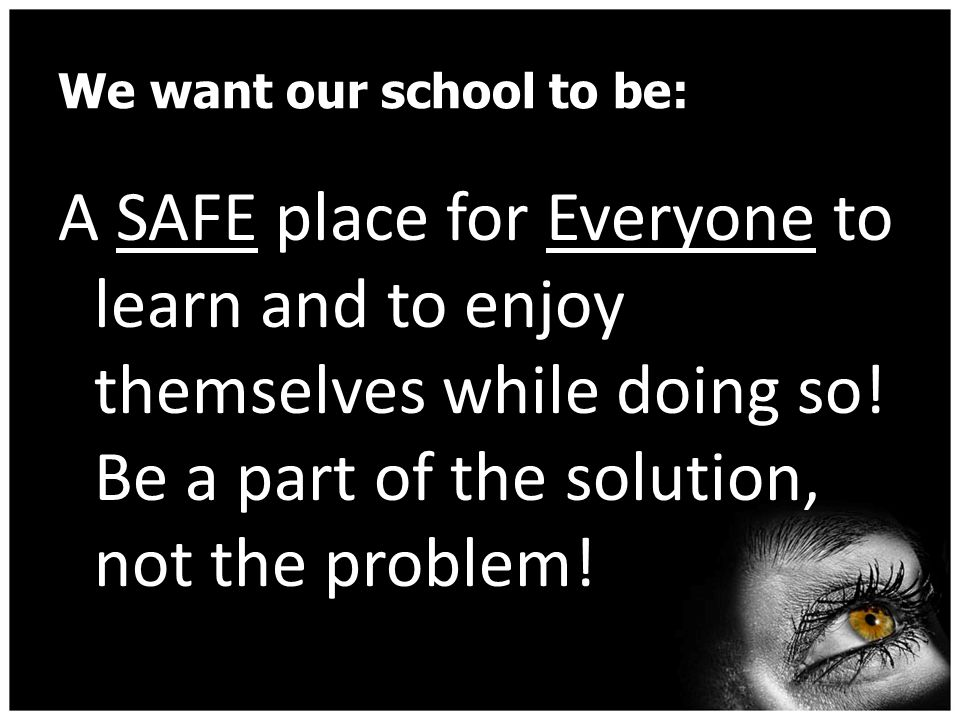 We want our school to be: A SAFE place for Everyone to learn and to enjoy themselves while doing so.