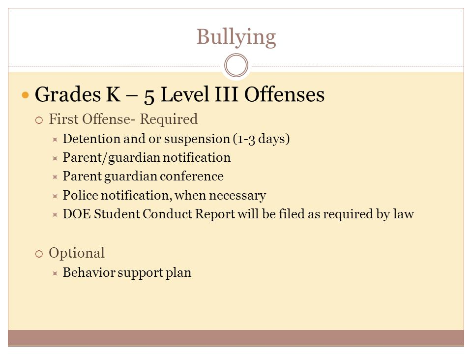 Bullying Grades K – 5 Level III Offenses  First Offense- Required  Detention and or suspension (1-3 days)  Parent/guardian notification  Parent guardian conference  Police notification, when necessary  DOE Student Conduct Report will be filed as required by law  Optional  Behavior support plan