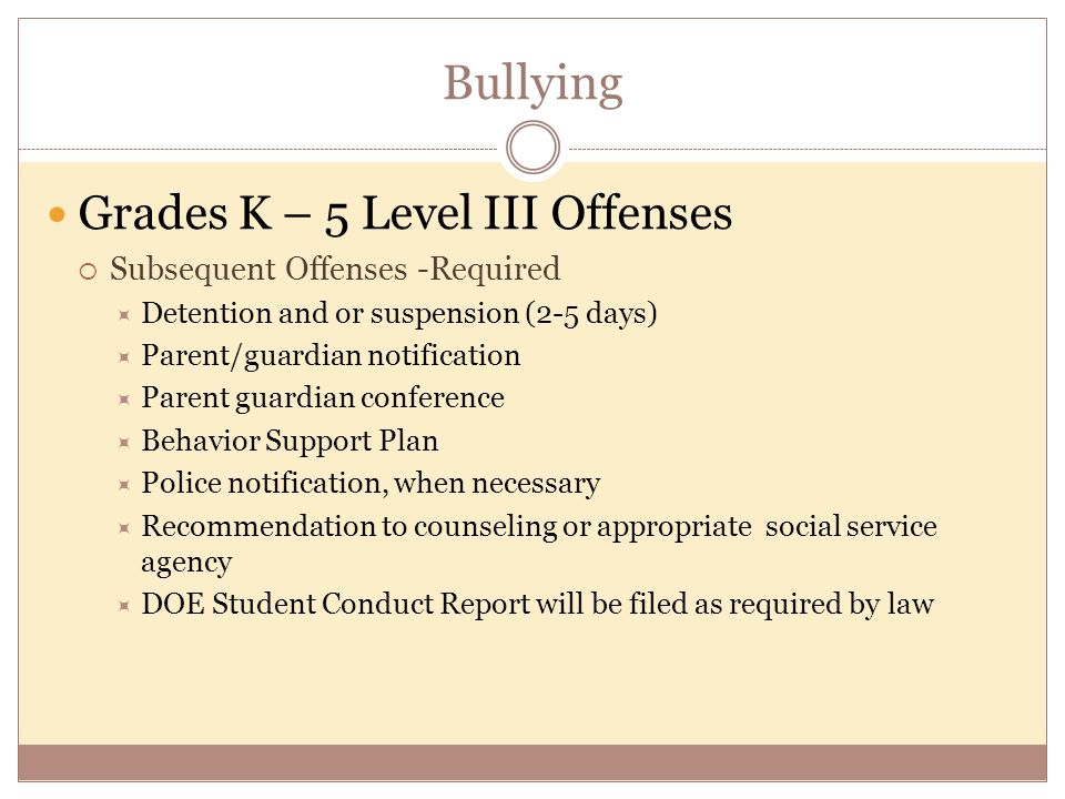 Bullying Grades K – 5 Level III Offenses  Subsequent Offenses -Required  Detention and or suspension (2-5 days)  Parent/guardian notification  Parent guardian conference  Behavior Support Plan  Police notification, when necessary  Recommendation to counseling or appropriate social service agency  DOE Student Conduct Report will be filed as required by law
