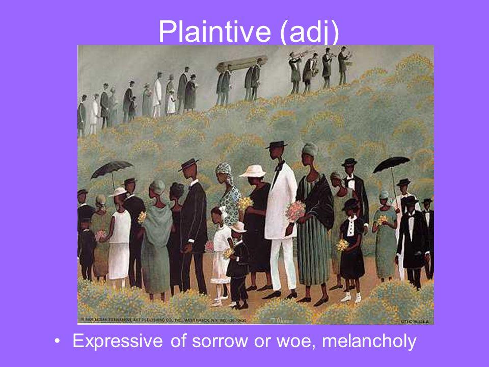 Plaintive (adj) Expressive of sorrow or woe, melancholy