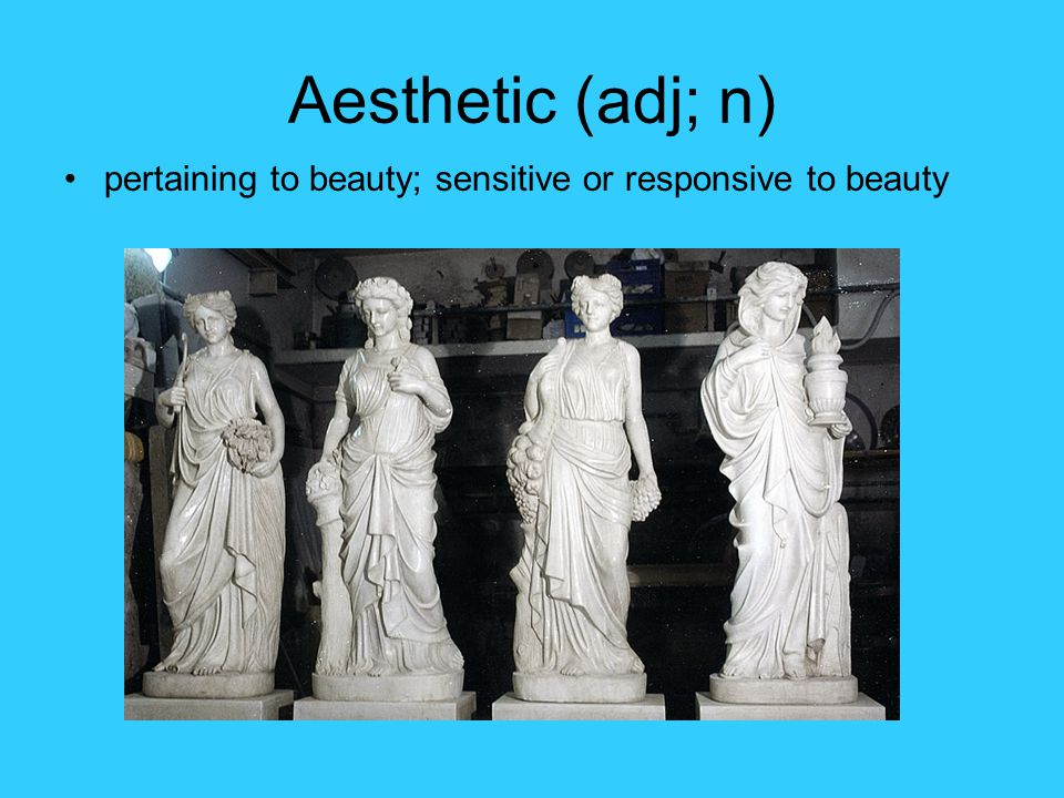 Aesthetic (adj; n) pertaining to beauty; sensitive or responsive to beauty