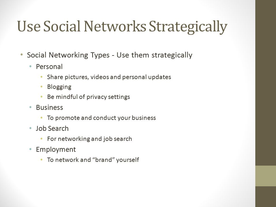 Use Social Networks Strategically Social Networking Types - Use them strategically Personal Share pictures, videos and personal updates Blogging Be mindful of privacy settings Business To promote and conduct your business Job Search For networking and job search Employment To network and brand yourself