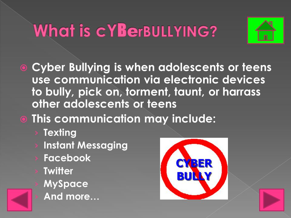  43% of 13-17 year olds have been cyber bullied  There are more female cyber bullies than male  About one third of those who have been involved in cyber bullying have been both a bully and the one being bullied  About 80% of teens believe that it is easier to get away with bullying online than in person  Cyber Bullying can cause a person to harm themselves or others