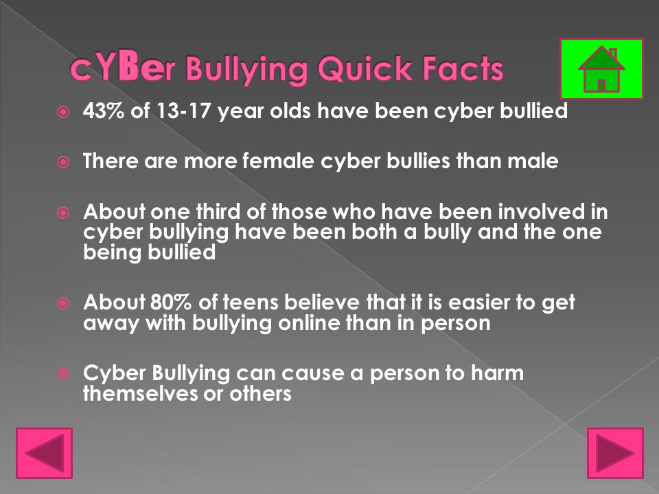 Reasons why teens cyber bully › They think it's fun › They want to be mean › They want to embarrass the other person › They want to show off in front of their friends › They feel the other person deserves it › They want to get back at someone