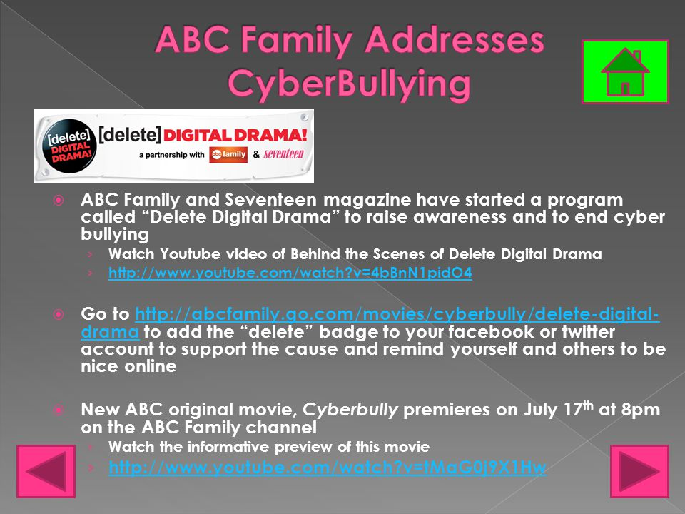 """ ABC Family and Seventeen magazine have started a program called """"Delete Digital Drama"""" to raise awareness and to end cyber bullying › Watch Youtube"""