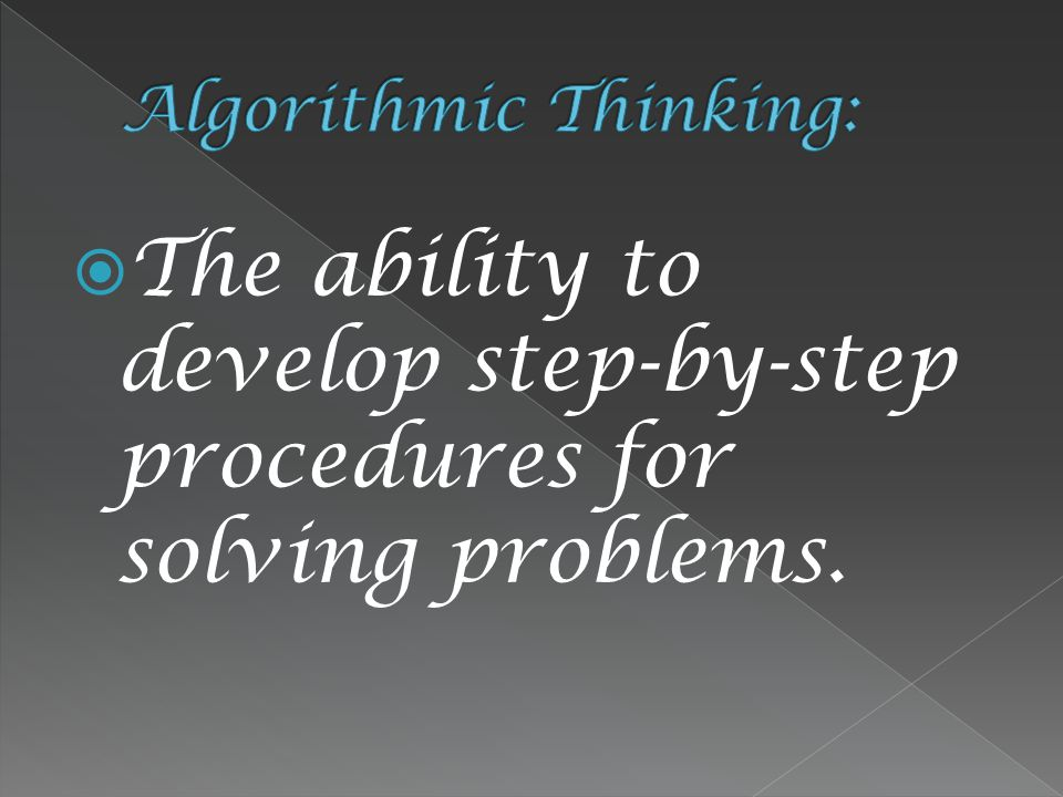  The ability to develop step-by-step procedures for solving problems.