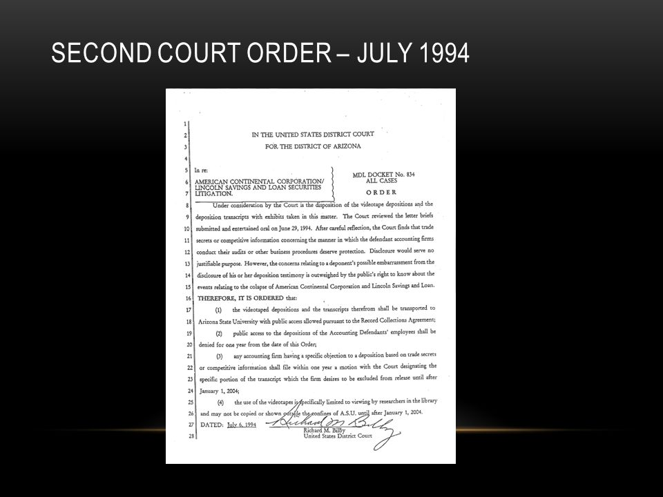 SECOND COURT ORDER – JULY 1994