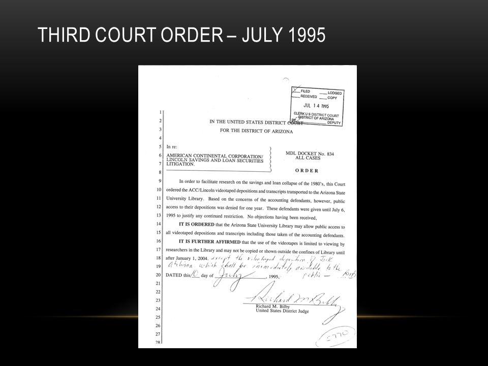 THIRD COURT ORDER – JULY 1995
