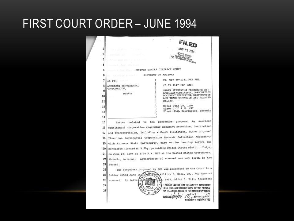 FIRST COURT ORDER – JUNE 1994