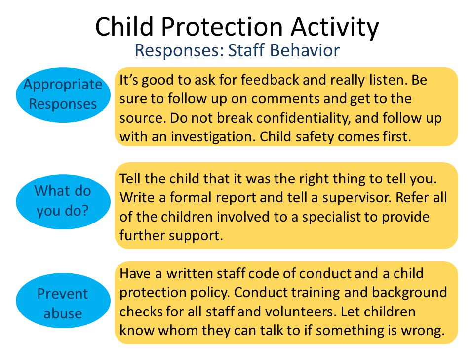 Child Protection Activity Responses: Staff Behavior Appropriate Responses What do you do.